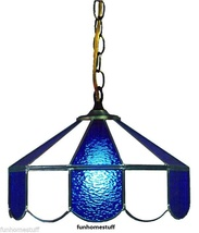 "BLUE & WHITE 14"" STAINED GLASS HOME BAR LAMP DECOR HANGING ACCENT LIGHT ... - $209.95"