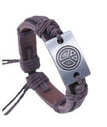 Unisex Brown Genuine Leather Peace Symbol Brace... - $5.72