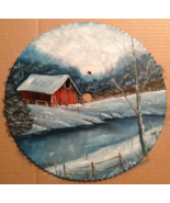 Order 4 Winter Sawblade, Red Barn By River, 10 Inches, Vintage Saw, Hand... - $97.00