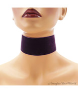 Plum Velvet Choker 2 inches 50 mm wide Custom Size Handmade dark purple ... - $7.75