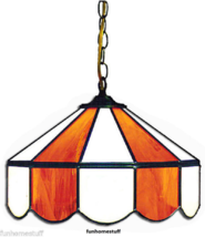 """ORANGE & WHITE 14"""" STAINED GLASS HANGING HOME DECOR BAR LAMP LIGHT FIXTURE - $329.95"""