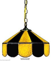 """BLACK & YELLOW 14"""" STAINED GLASS HANGING HOME DECOR BAR LAMP LIGHT FIXTURE - $329.95"""
