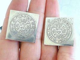 Vintage JENCRA Mexico Aztec Mayan Calendar Sterling Silver Cufflinks 26 Grams - $39.59