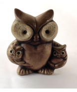 Ceramic Owl with 2 Small Owlettes Pottery Figurine - $9.90