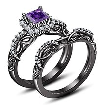 14K Black Gold Fn Cubic Zirconia Princess Cut Purple Amethyst Bridal Ring Set - $96.99