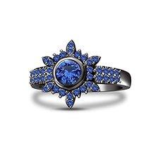 Black Rhodium Plated 925 Silver Blue Sapphire Snowflake Anniversary Ring - $96.99