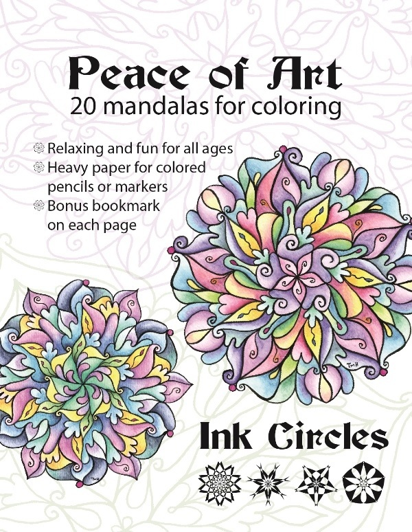 Primary image for CLEARANCE Peace of Art Coloring Book mandalas adult coloring Ink Circles