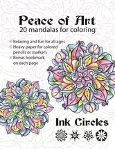 CLEARANCE Peace of Art Coloring Book mandalas adult coloring Ink Circles  - $8.00