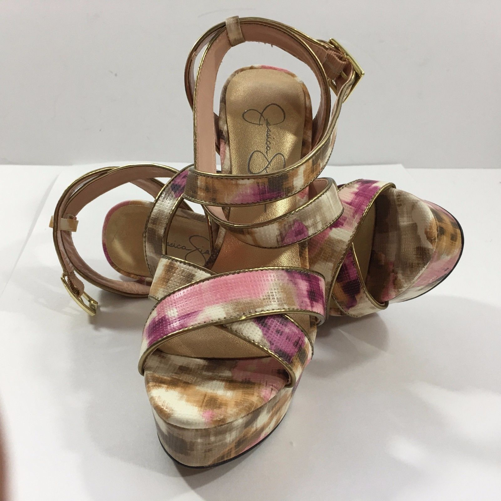 Primary image for Jessica Simpson Pink and Gold Platform Stilletto Sandals (6 1/2B / 36)