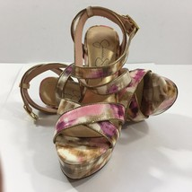 Jessica Simpson Pink and Gold Platform Stilletto Sandals (6 1/2B / 36) - $36.09