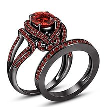 Black Rhodium Plated Round Cut Red Garnet Women's Her Engagement Bridal Ring Set - $96.99