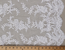 Lace Double-Scalloped Alencon Netting Lace Floral Flowers Fabric BTY D170.37 - $26.97