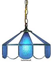 """LIGHT BLUE & WHITE 14"""" STAINED GLASS HANGING HOME BAR DECOR LAMP LIGHT FIXTURE - $329.95"""