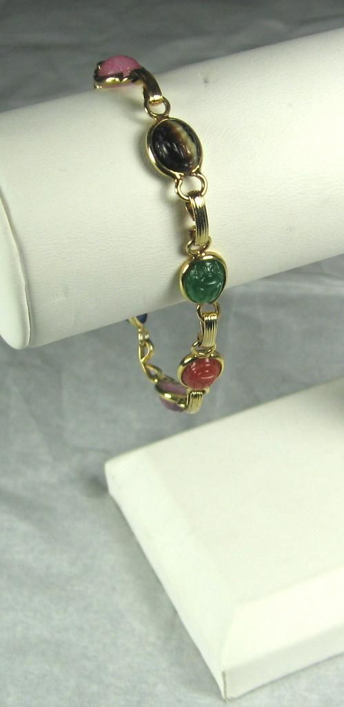 Egyptian Revival Glass Scarab Link Bracelet