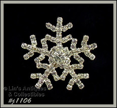 Signed Eisenberg Ice Snowflake Pin Clear Rhinestones (Inventory #J1106) - $48.00