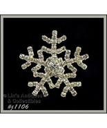 Signed Eisenberg Ice Snowflake Pin Clear Rhinestones (Inventory #J1106) - $48.00