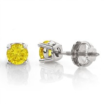 3.50CT Round Canary Yellow Solid 18K White Gold Stud ScrewBack Earrings - $251.35
