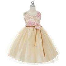 Champagne Floral Print Flower Girl Dress Birthday Bridesmaid Wedding Par... - $48.00