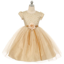 Gold Double Layered Mesh Flower Girl Birthday Pageant Formal Party Weddi... - $48.00