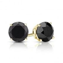 2.25CT Black Round Brilliant Solid 18K Yellow Gold Screwback Stud Earrings - $187.11