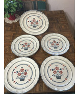 "Lot (5) BRAMBLEBERRY 10 3/4"" Dinner Plates Hear... - $25.74"
