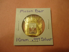 1 Gram .999 Silver Mason Bar With Minute Trace Amounts Of Gold Flakes - $2.05