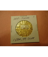 1 GRAM .999 SILVER SHIP-TONING BAR WITH MINUTE TRACE AMOUNTS OF GOLD FLA... - $2.05
