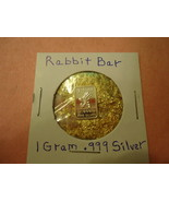 1 GRAM .999 SILVER RABBIT BAR WITH MINUTE TRACE AMOUNTS OF GOLD FLAKES  - $2.05