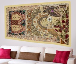 Tribal Wall Tapestry Hand Embroidered Beads Patchwork Hanging Sequins De... - $1.020,26 MXN