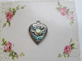 Vintage Sterling silver enameled puffy heart charm-YELLOW ROSE - €27,07 EUR