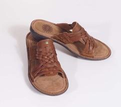 UGG Keala Womens Brown Chestnut Leather Slides ... - $59.99