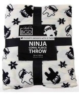 Studio BGD Ninja Coral Soft Warm Fleece Throw Cover Blanket Black White ... - $17.98