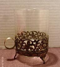 Vintage GOLD FILIGREE Metal & Glass Large Candle Holder With Finger Loop - $9.50