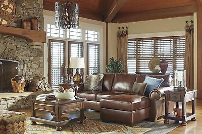 Ashley Lugoro 2 Piece Sectional in Saddle Right Hand Facing Traditional Style
