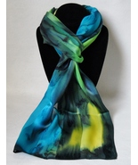 Hand Painted Silk Scarf Yellow Turquoise Blue G... - $44.00