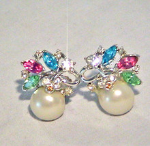 Vintage CRYSTAL Blue Pink Green Rhinestone PEARL Earrings --Topaz & Whit... - $12.00