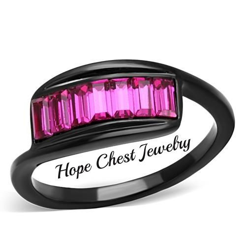 HCJ WOMEN'S BLACK STAINLESS STEEL FUCHSIA TOP GRADE CRYSTAL FASHION RING SIZE 8