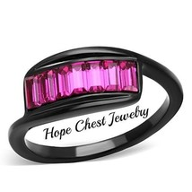 Hcj Women's Black Stainless Steel Fuchsia Top Grade Crystal Fashion Ring Size 8 - $17.98
