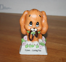 """Russ Berries """"I Love..Loving You"""" Porcelain Puppy with Leash in Mouth Figurine - $7.99"""