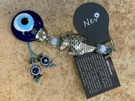 NEV TURKEY AMULET FISH GLASS BEAD EYE KEY CHAIN FOB BLUE SILVERTONE NEW  - $6.08