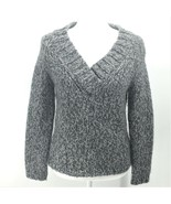 Eagle's Eye Alpaca Blend Pullover Sweater Grey White Long Sleeve V-Neck ... - $25.16