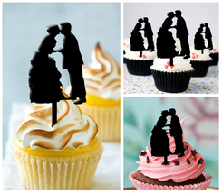 Wedding,Birthday Cupcake topper,silhouette wedding kiss Package : 10 pcs - $10.00