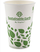 NEW Sustainable Earth 16oz. Compostable Hot Cups White 300/Case SEB28991 - $28.40