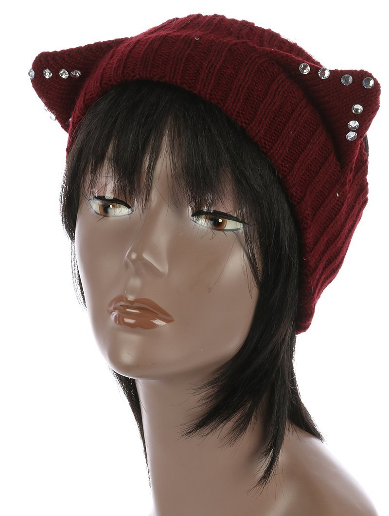 Cute! Rhinestone Cat Ears Winter Headband (Burgundy)