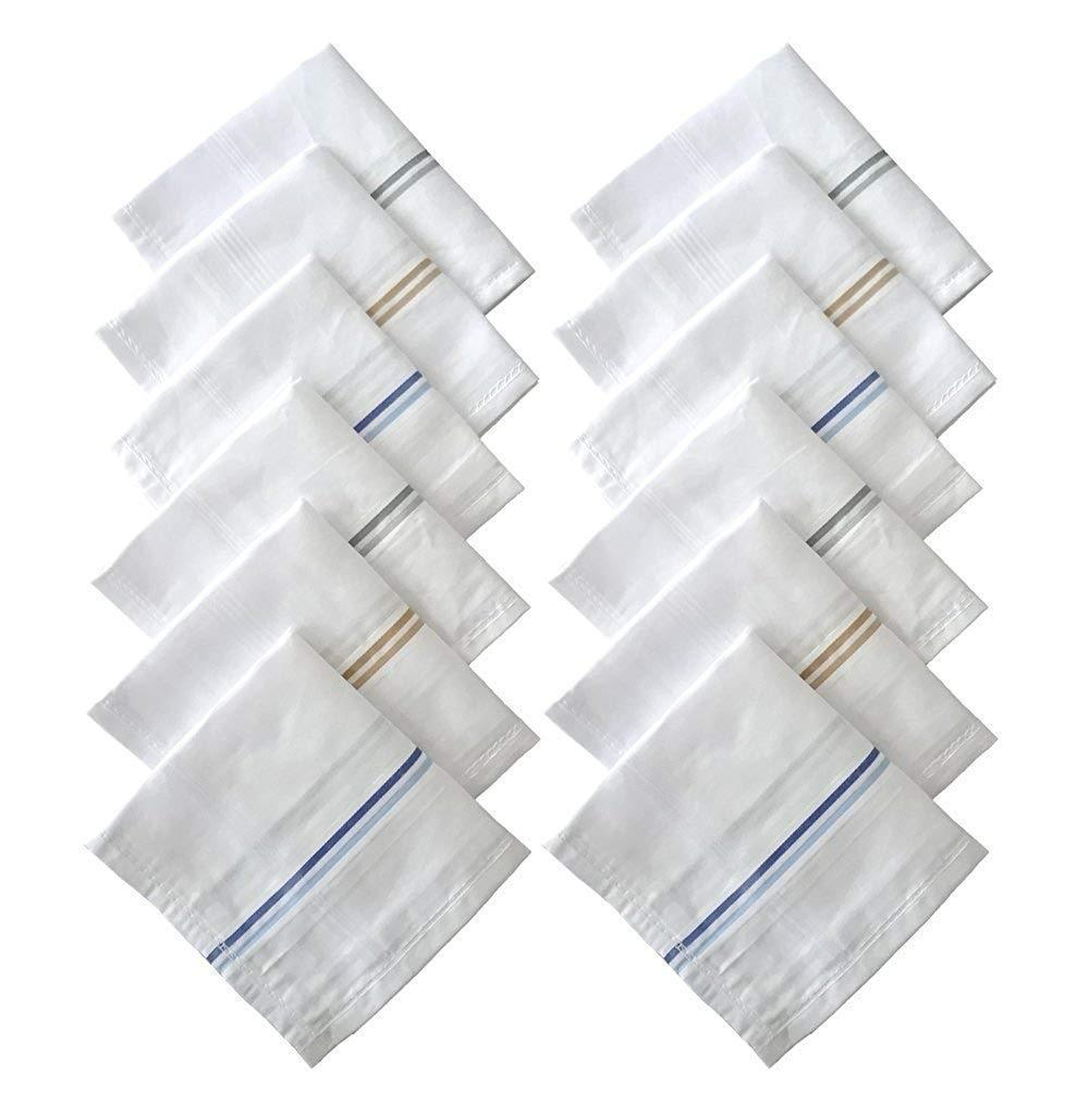 Men's 100% Cotton Essential Handkerchiefs white colour Base 12 pcs of set