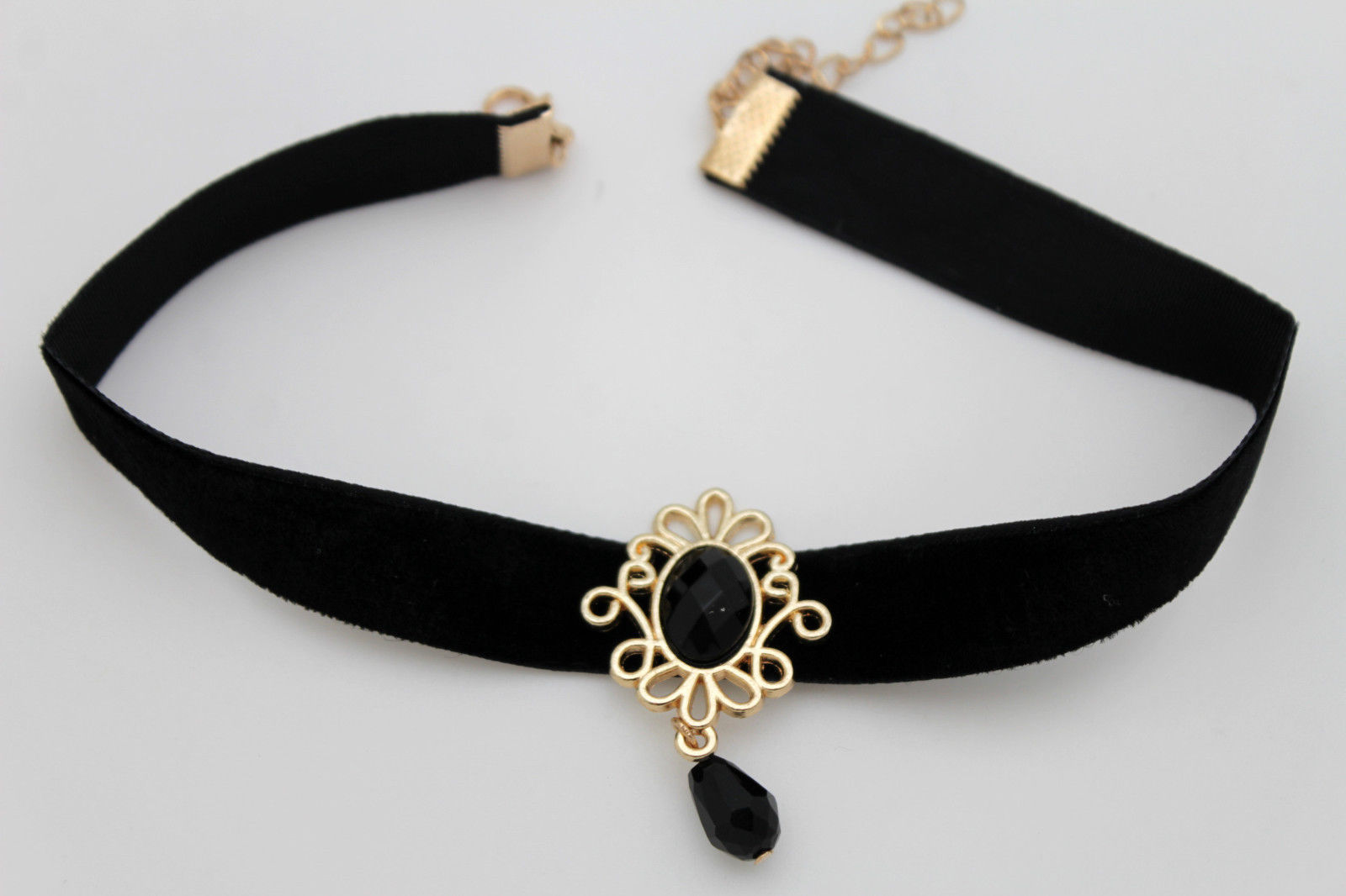 Women Gold Metal Vintage Style Charm Fashion Jewelry Choker Necklace Black Strap Necklaces