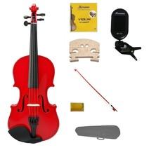 1/2 Size Red Violin,Case,Red Bow+Rosin+2 Sets Strings+2 Bridges+Tuner - $54.00