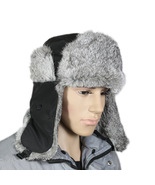 Men Nature Grey Rabbit Fur Hat Winter Hat Fur Cap Fur Hat Ski Hat Men's Hat - $32.00