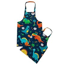ETIUC Cute Dinosaur Kids Apron Adjustable Cotton Aprons for Boys Girls Children