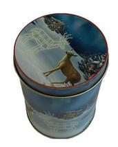 "Lindy Bowman Christmas Canister Tin Deer Reindeer Can 5"" Snow Log Cabin - $11.87"